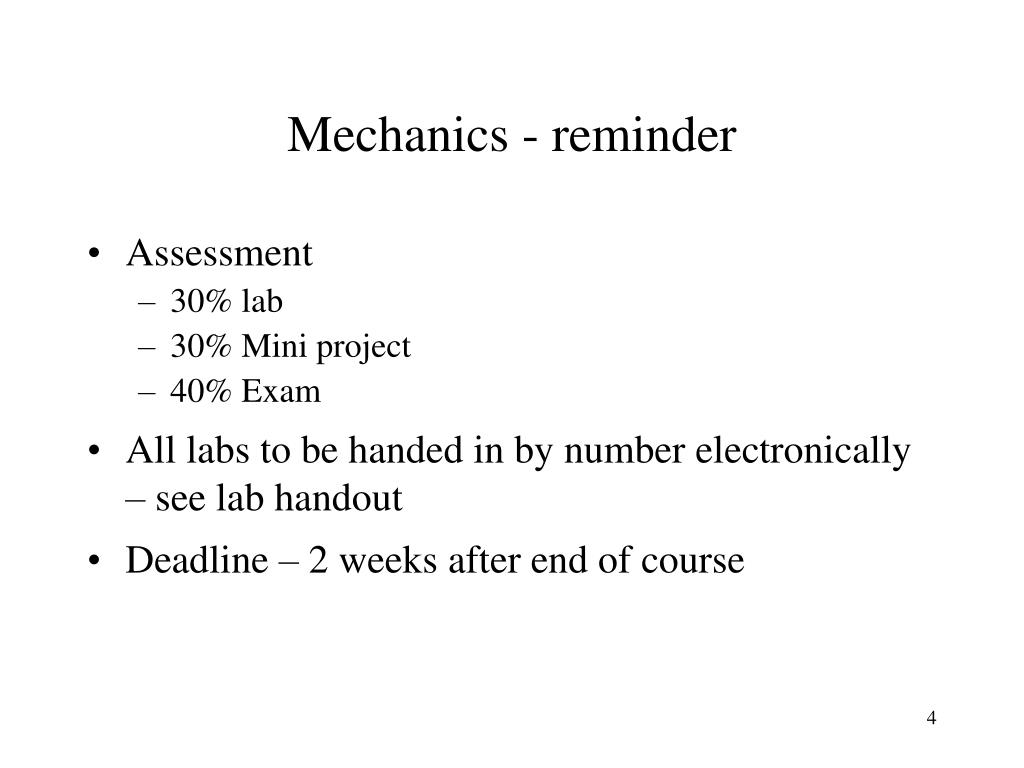Mechanics - reminder