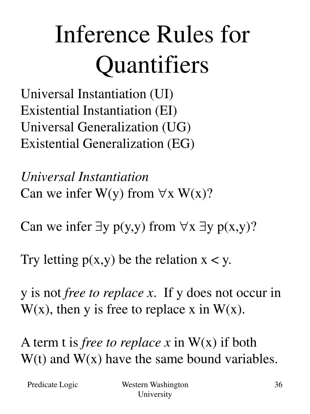 Inference Rules for Quantifiers