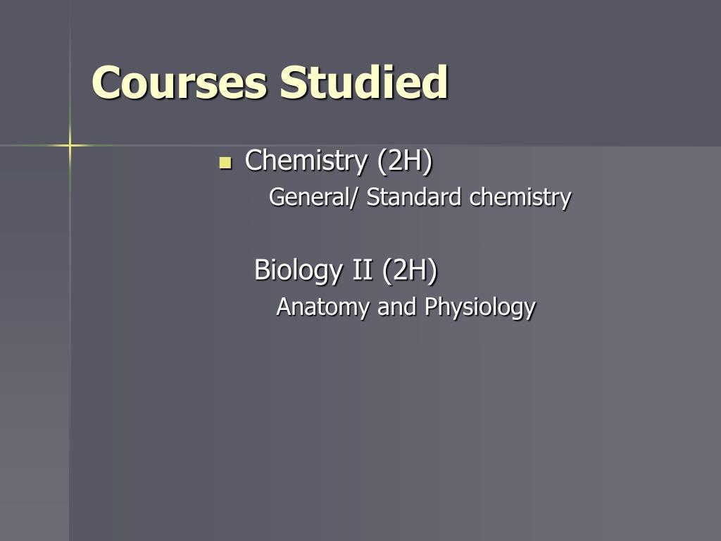 Courses Studied