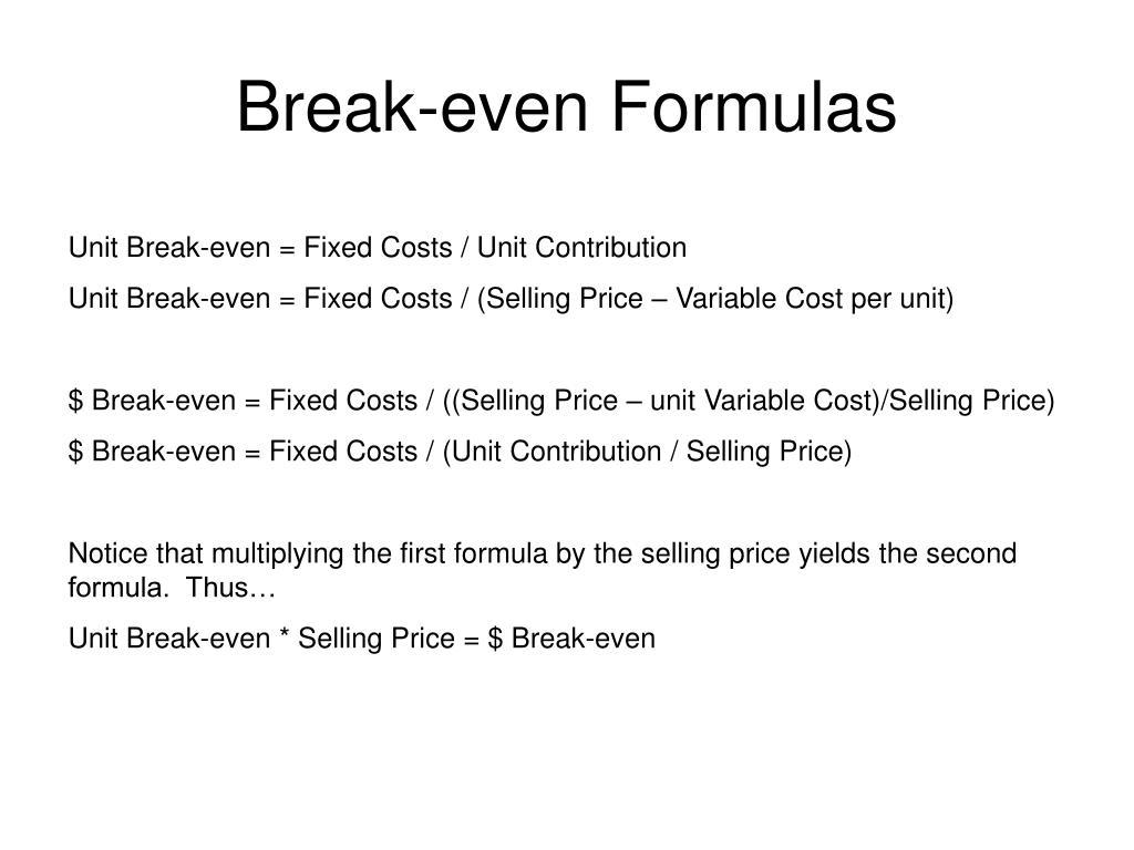 Break-even Formulas