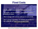 fixed costs