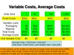 variable costs average costs