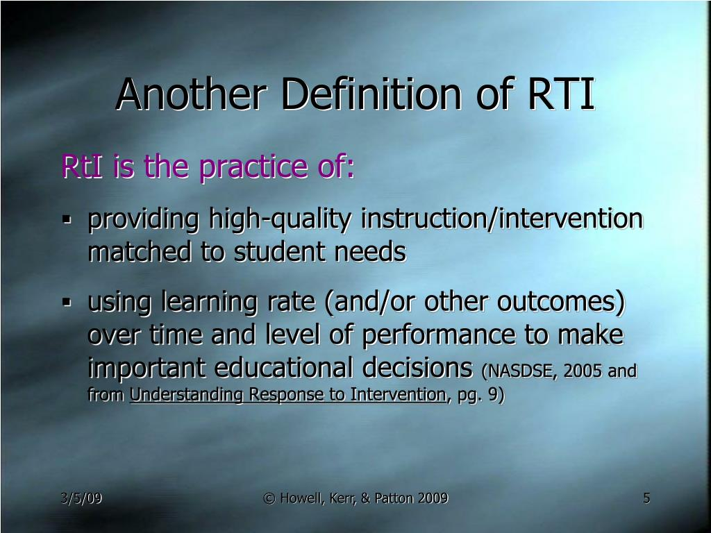 Another Definition of RTI