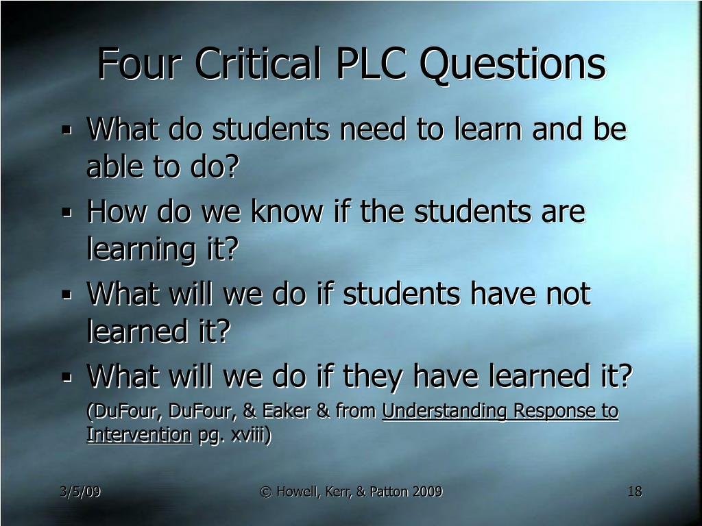 Four Critical PLC Questions
