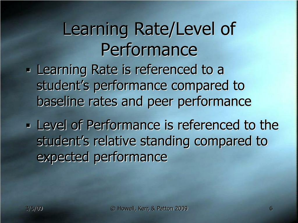 Learning Rate/Level of Performance