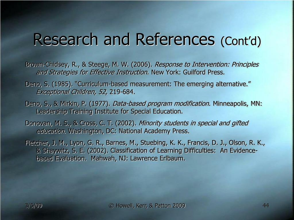 Research and References