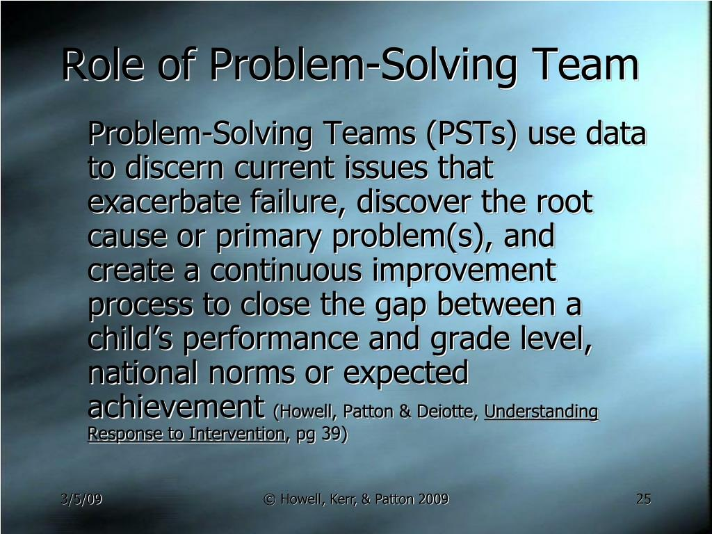 Role of Problem-Solving Team
