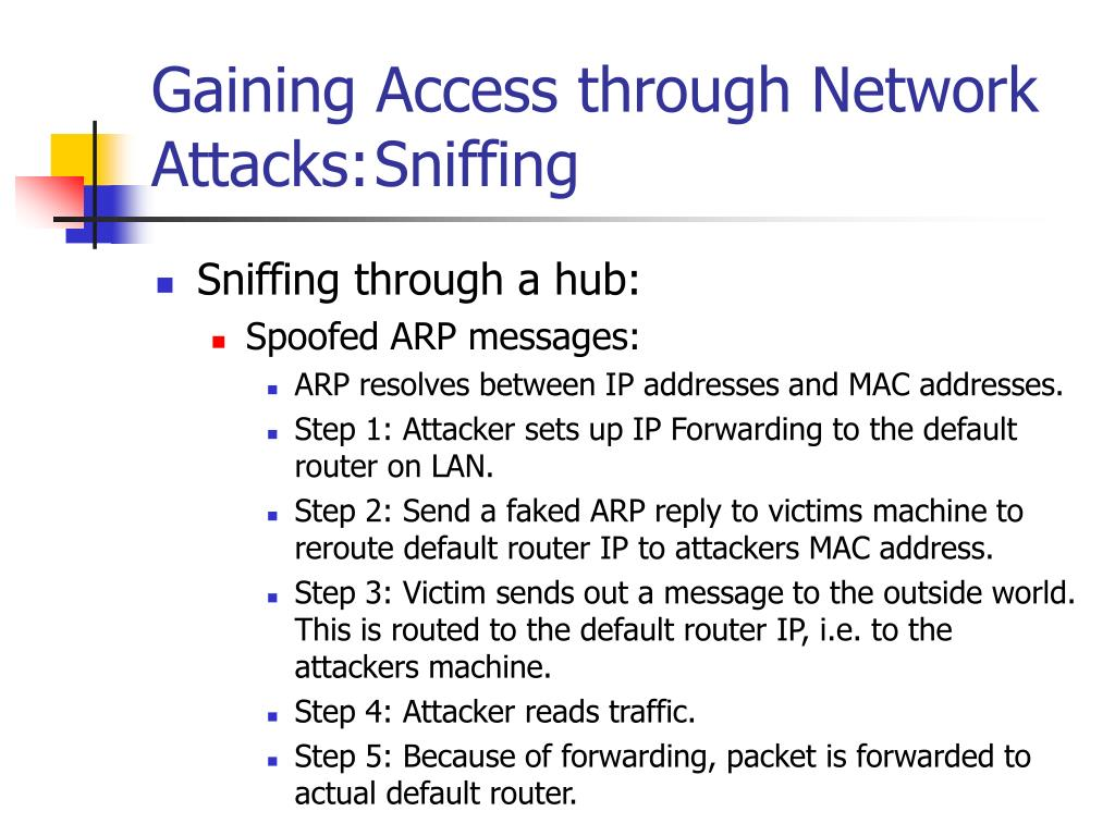 Gaining Access through Network Attacks:Sniffing
