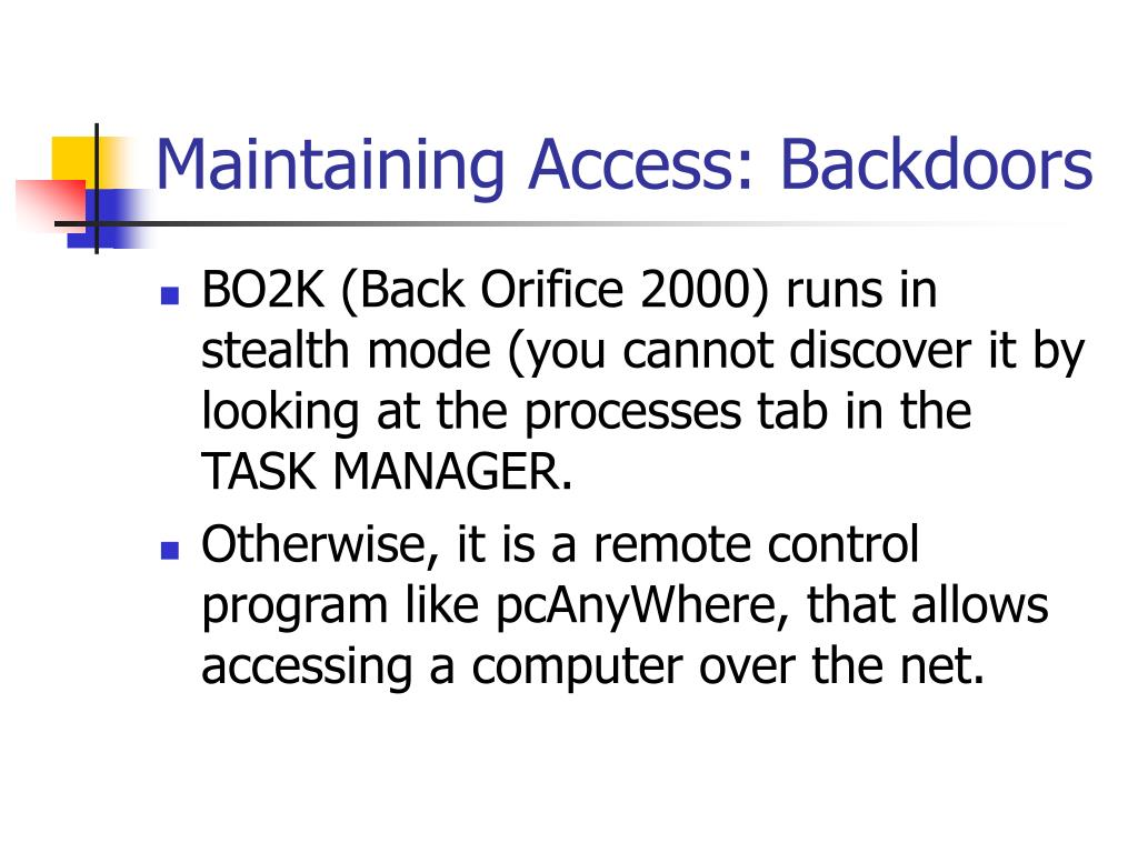 Maintaining Access: Backdoors