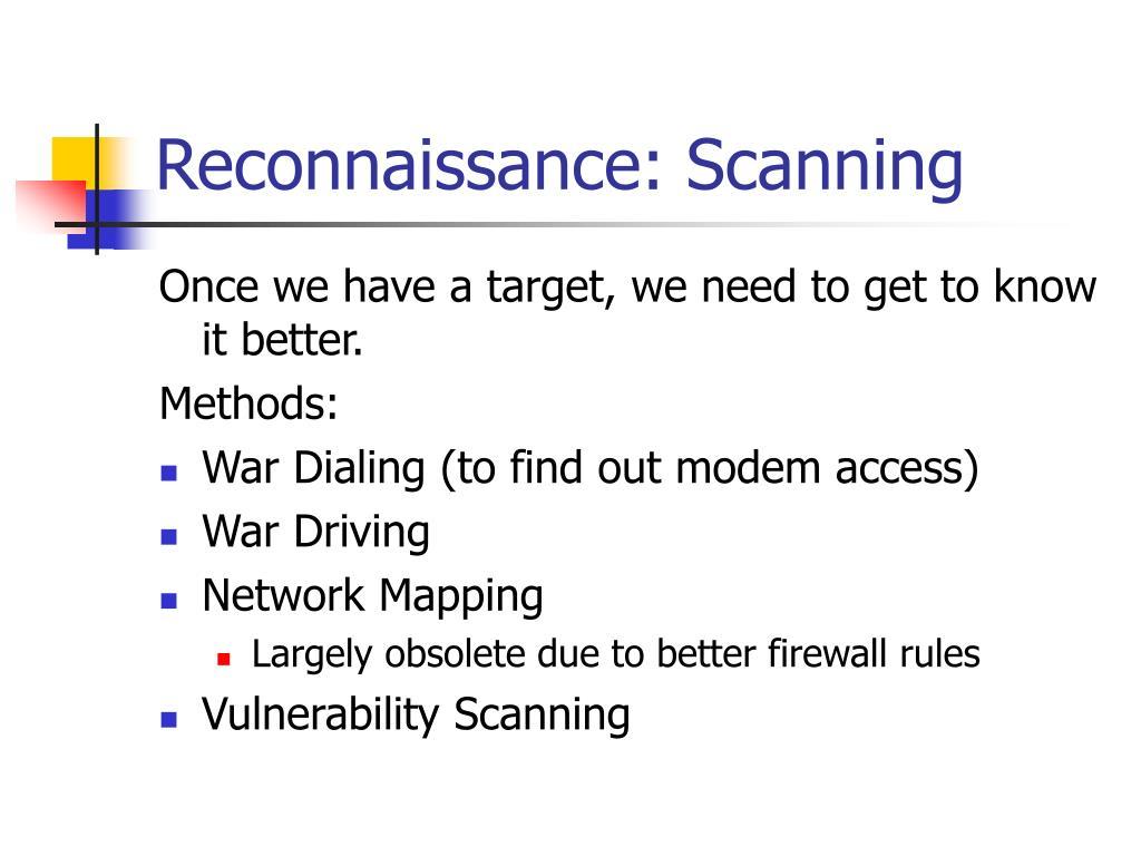 Reconnaissance: Scanning
