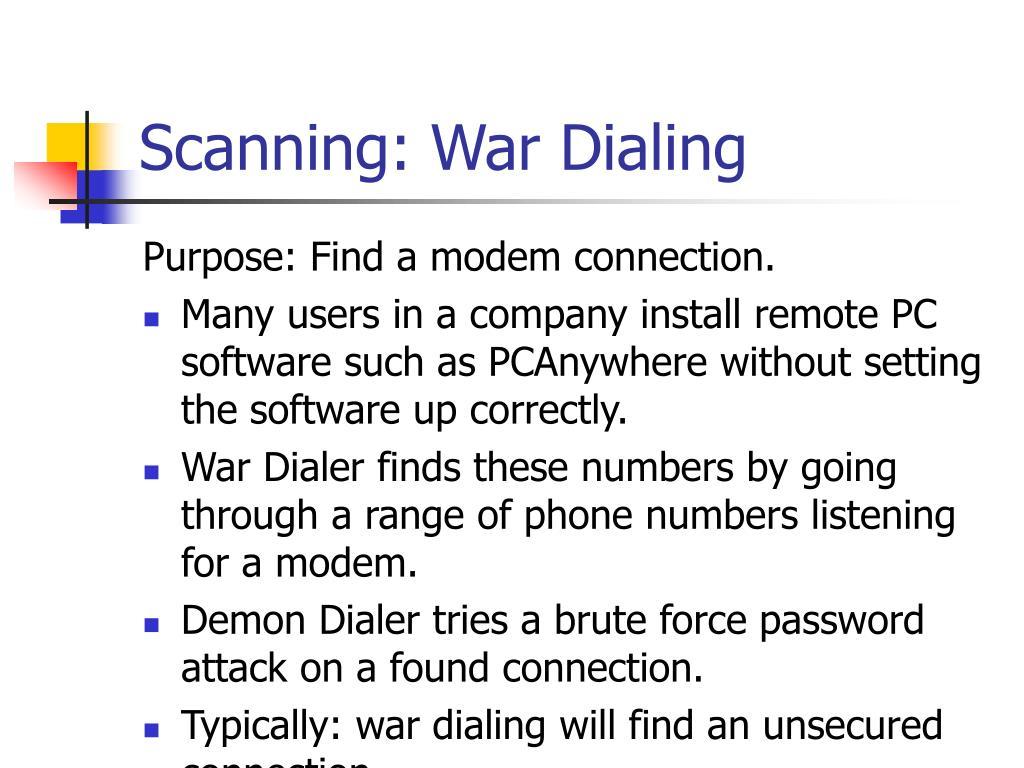 Scanning: War Dialing