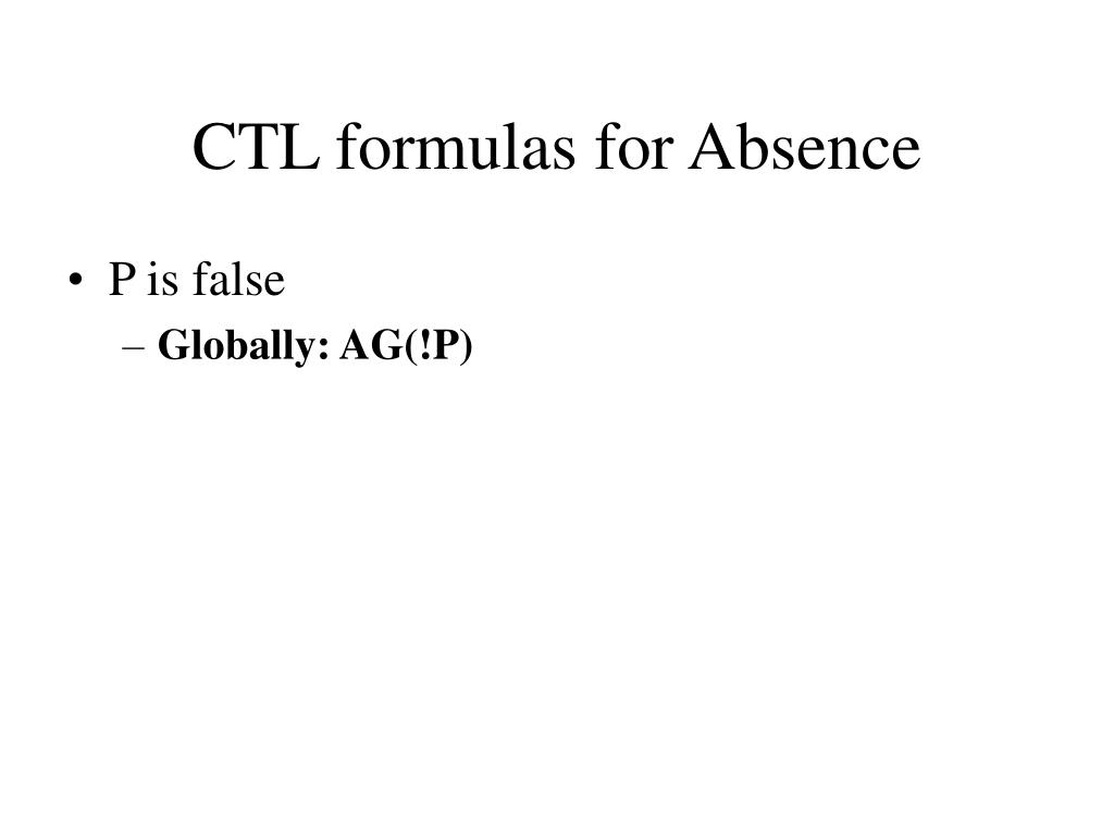 CTL formulas for Absence
