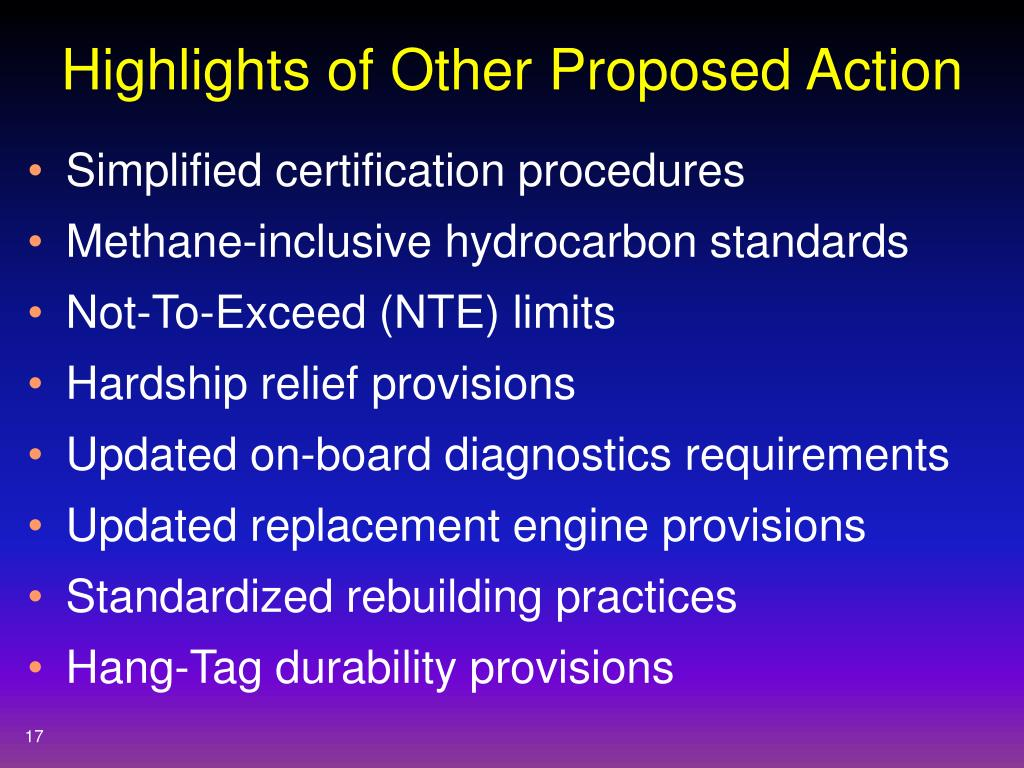 Highlights of Other Proposed Action