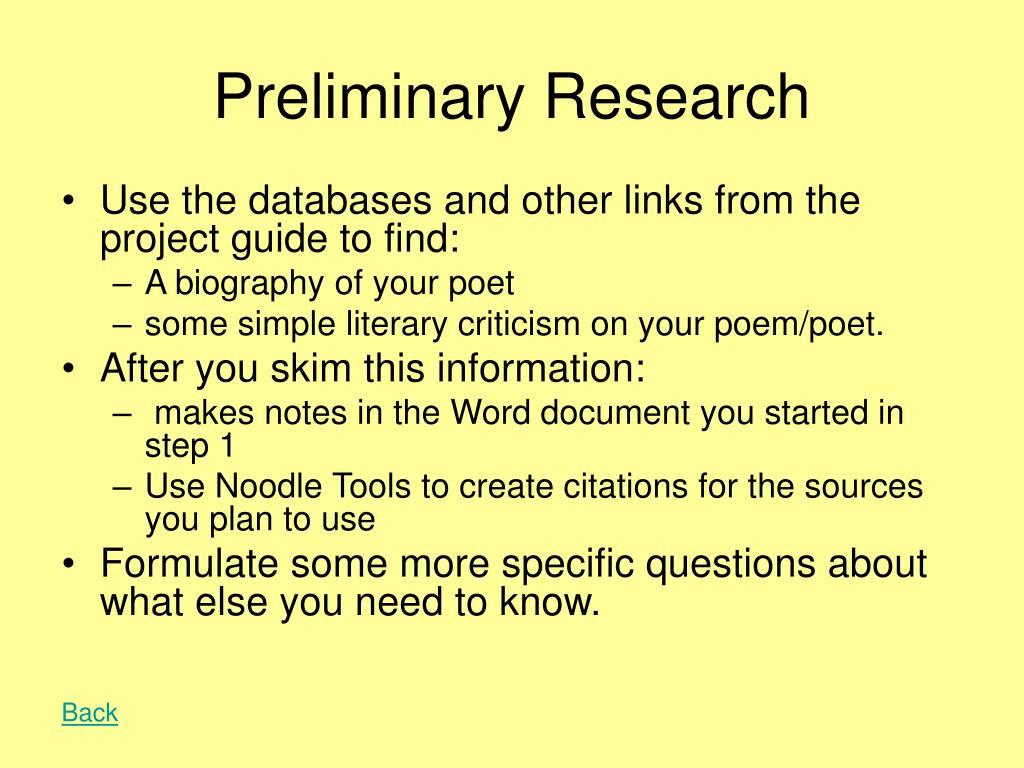 Preliminary Research