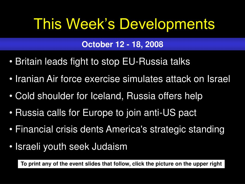 This Week's Developments