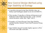 new control design method using sign stability of ecology