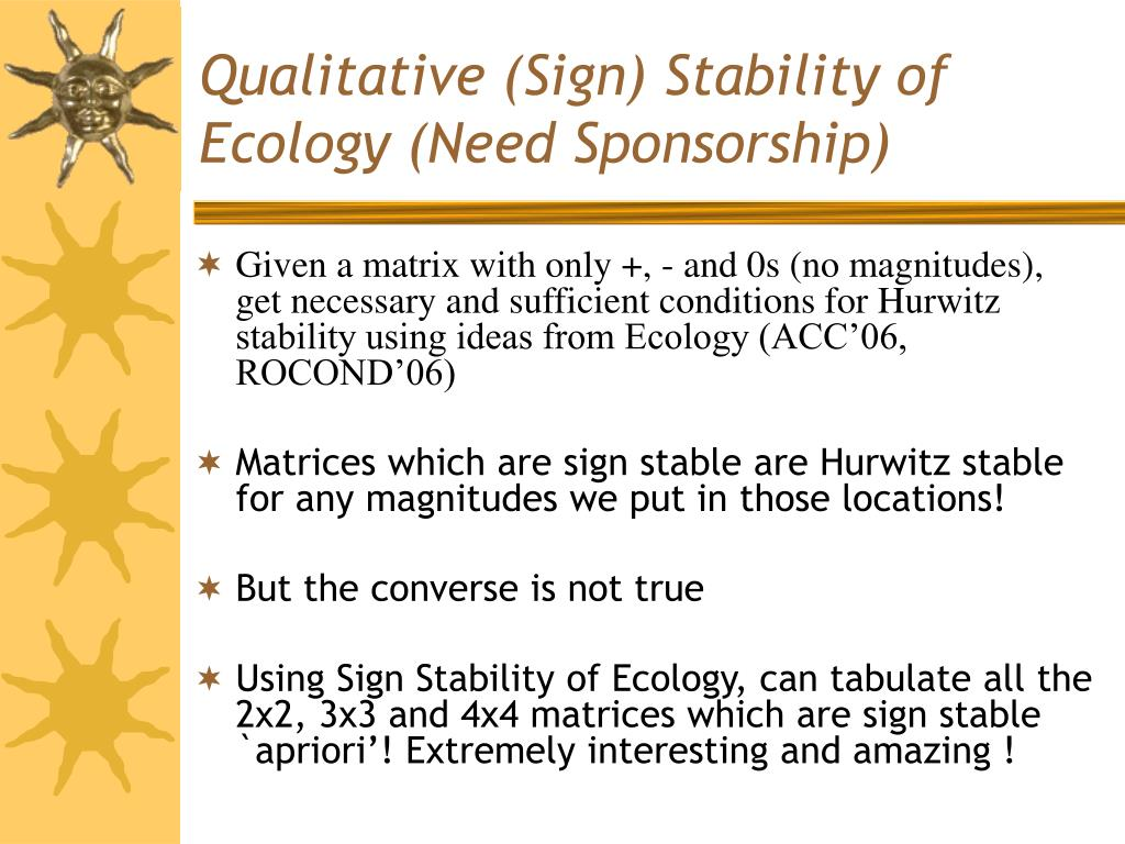 Qualitative (Sign) Stability of Ecology (Need Sponsorship)