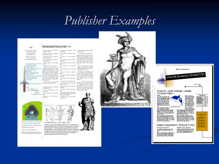 Publisher examples