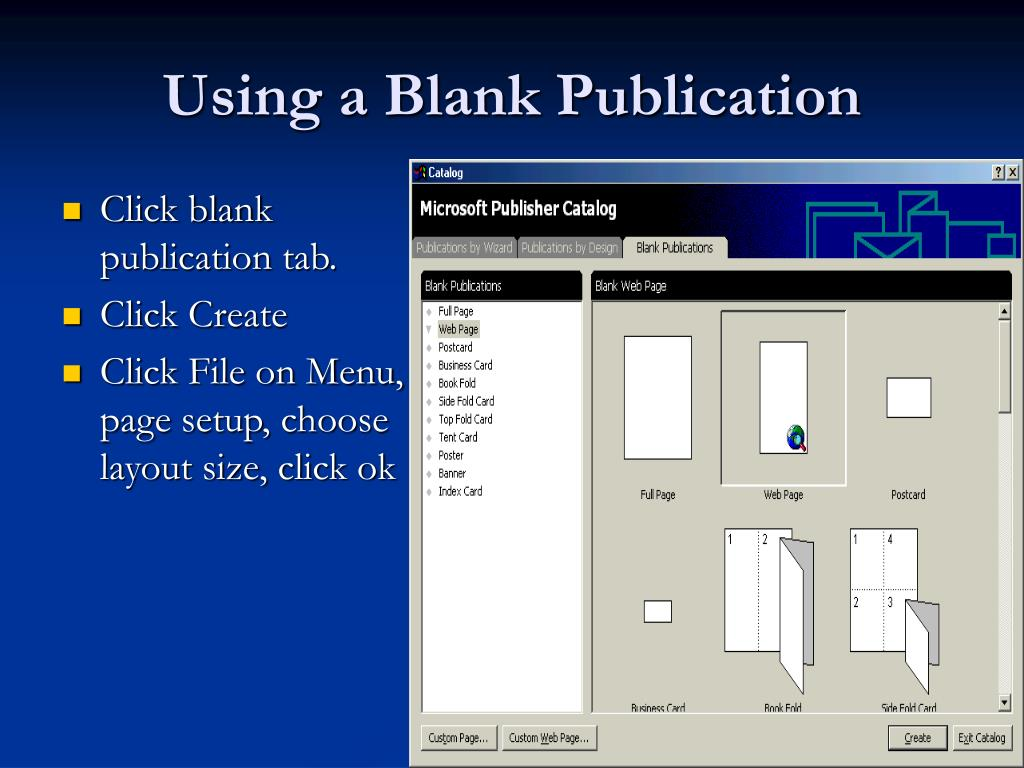 Using a Blank Publication