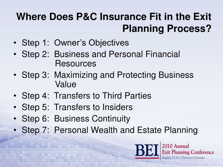 Where does p c insurance fit in the exit planning process