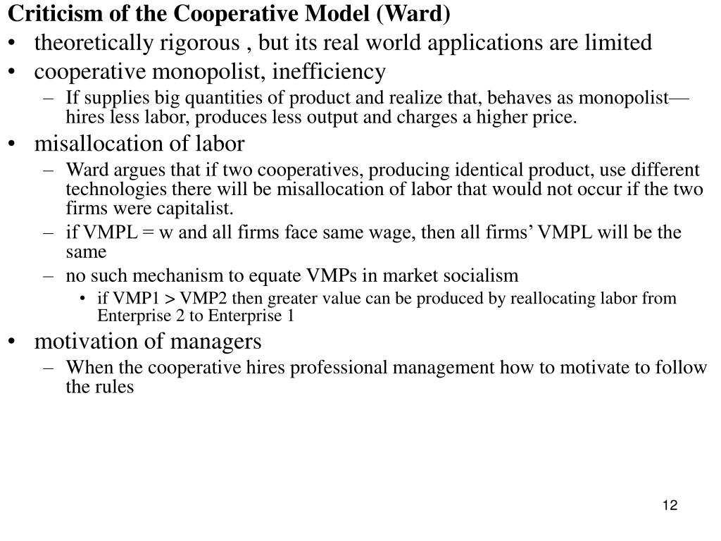 Criticism of the Cooperative Model (Ward)