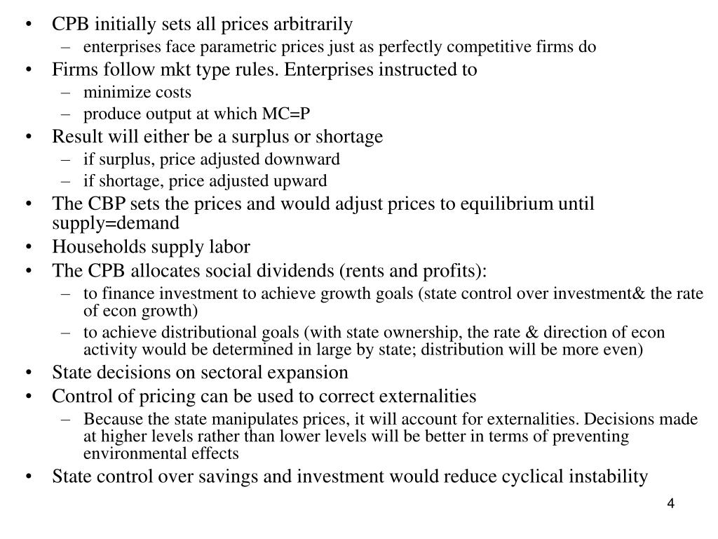 CPB initially sets all prices arbitrarily
