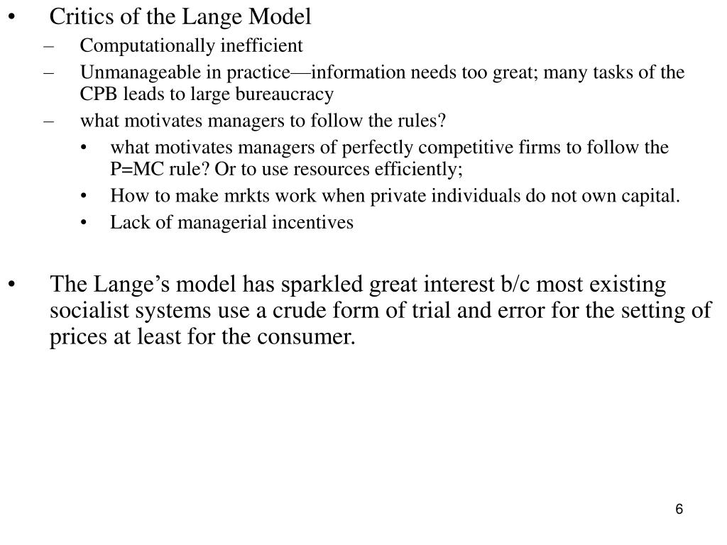 Critics of the Lange Model