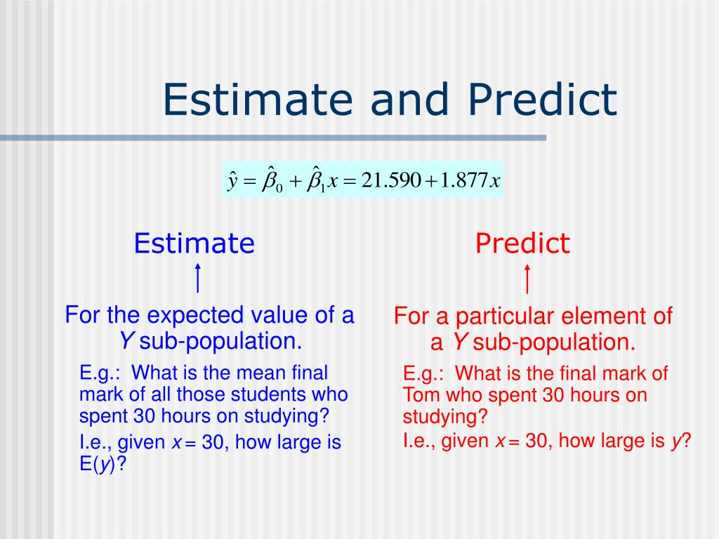 Estimate and Predict