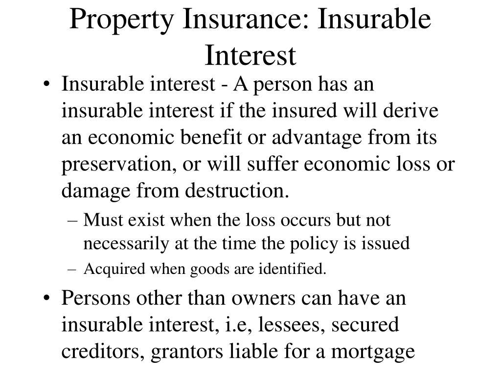 Property Insurance: Insurable Interest