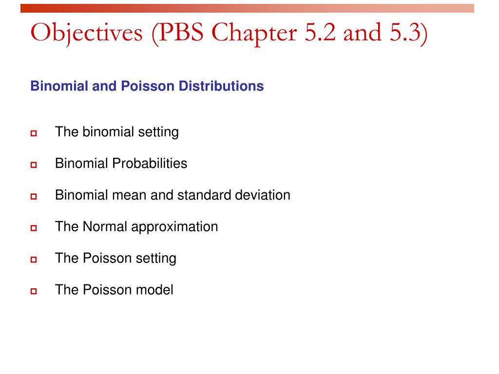 Objectives (PBS Chapter 5.2 and 5.3)