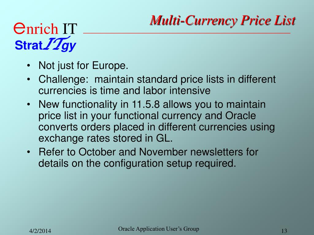 Multi-Currency Price List