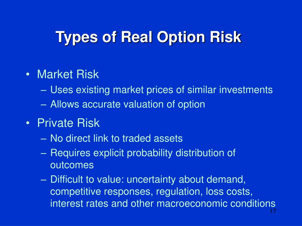 Types of Real Option Risk