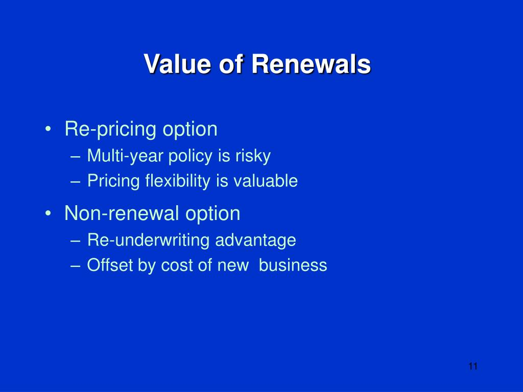 Value of Renewals