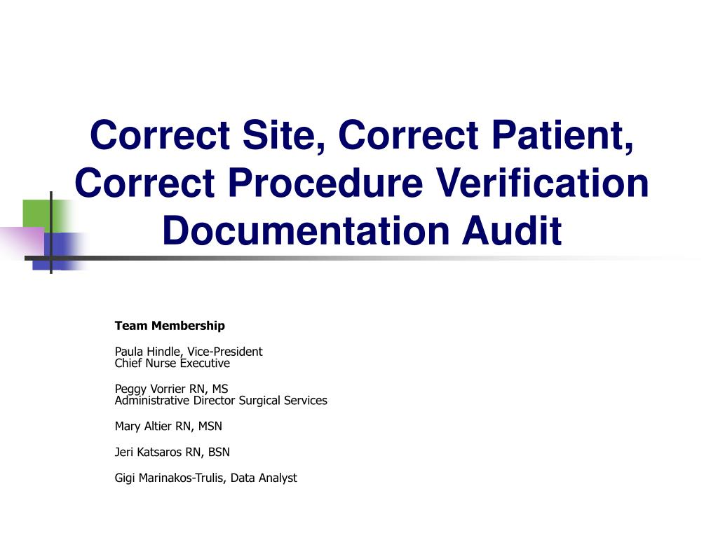 Correct Site, Correct Patient, Correct Procedure Verification