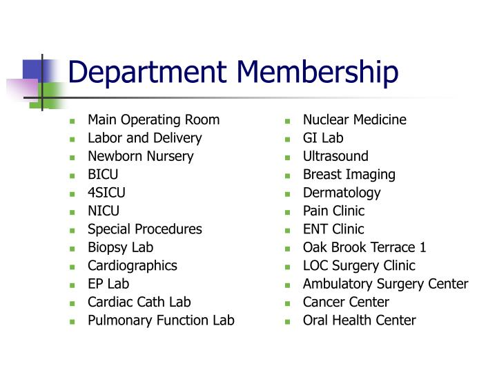 Department membership