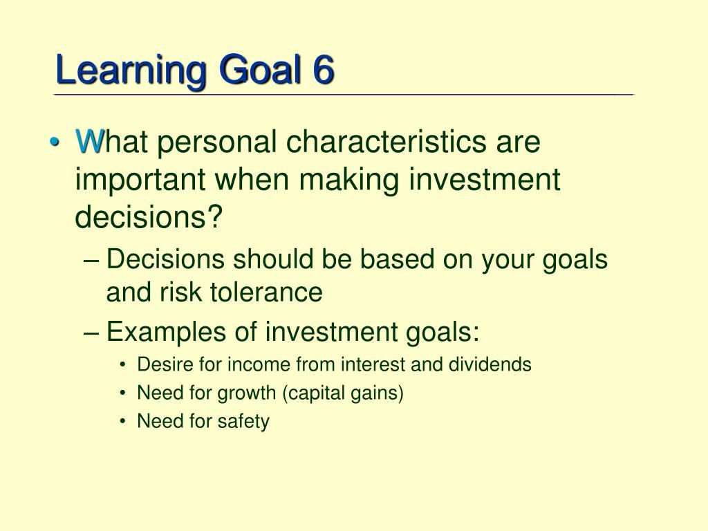 Learning Goal 6
