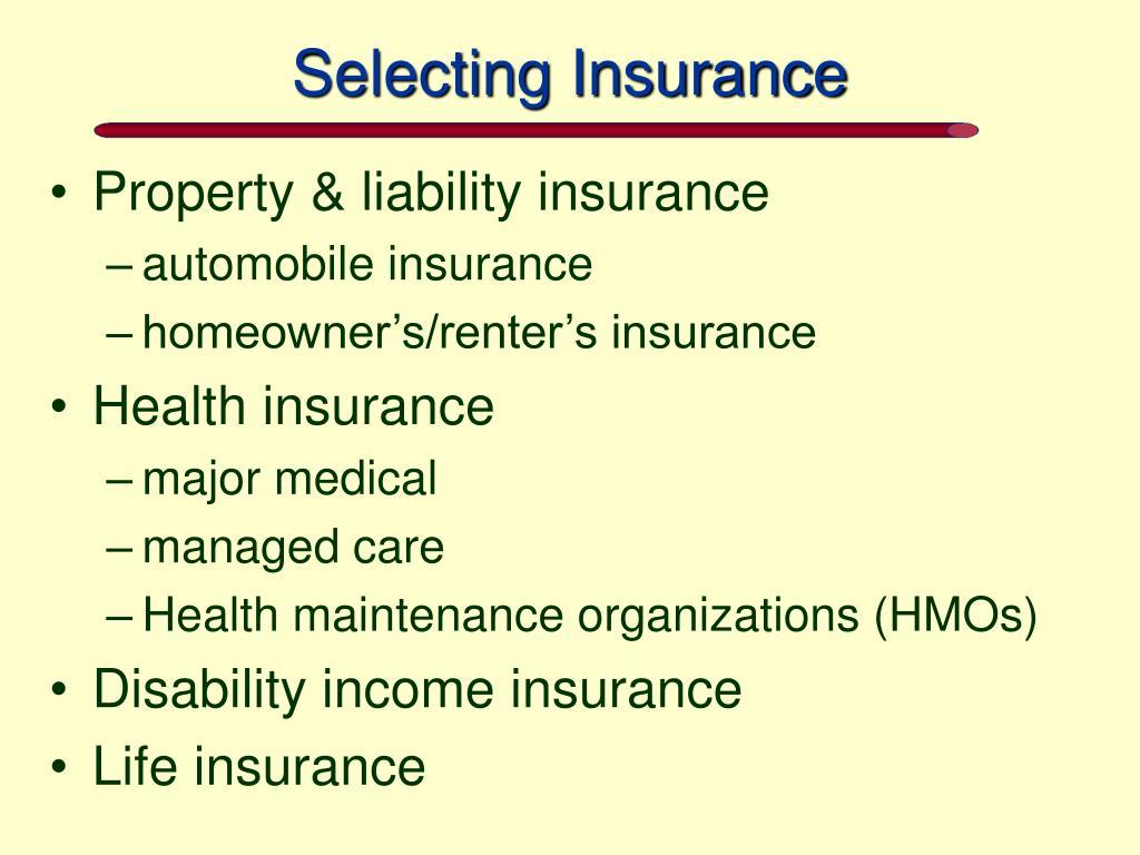 Selecting Insurance