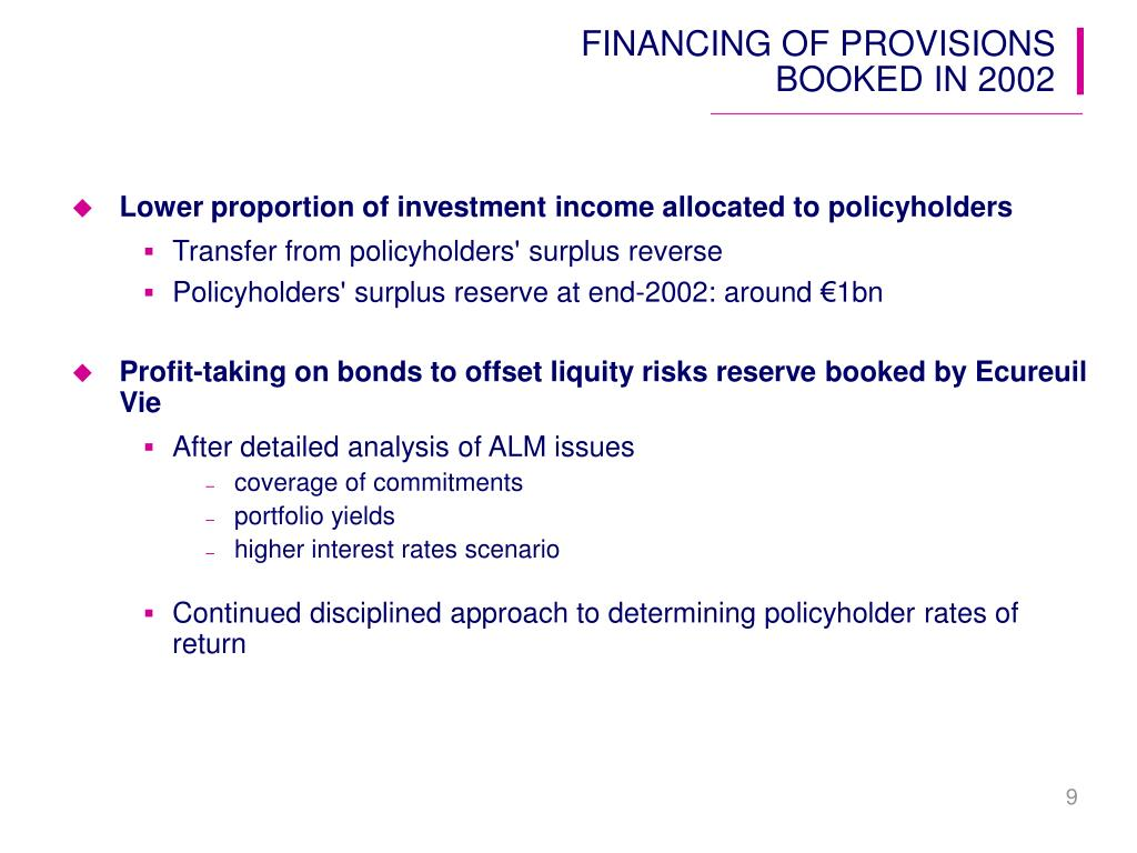 FINANCING OF PROVISIONS