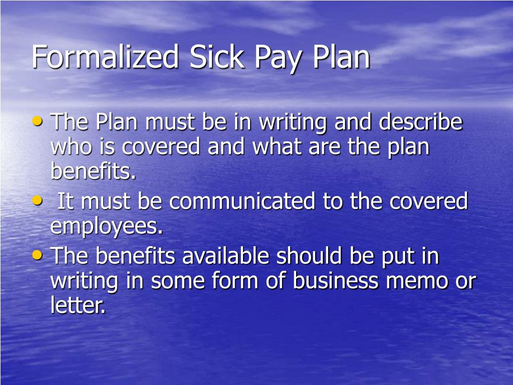 Formalized Sick Pay Plan