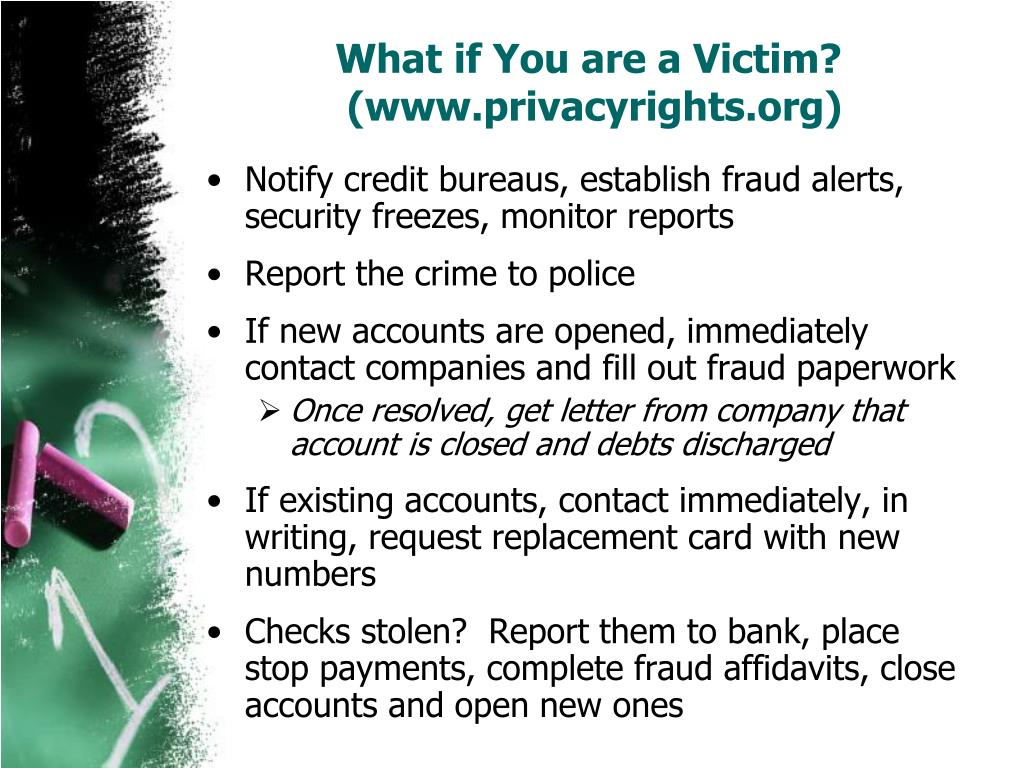 What if You are a Victim?