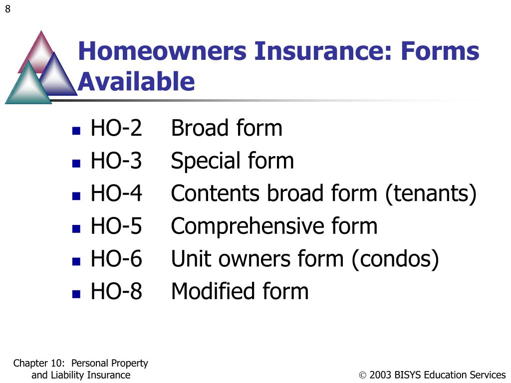 Homeowners Insurance: Forms Available
