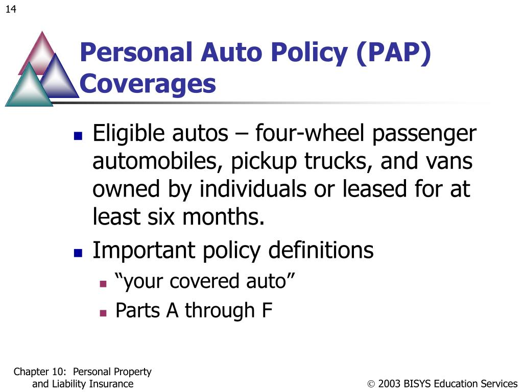 Personal Auto Policy (PAP) Coverages