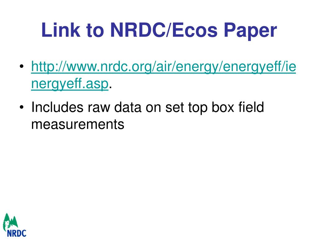 Link to NRDC/Ecos Paper