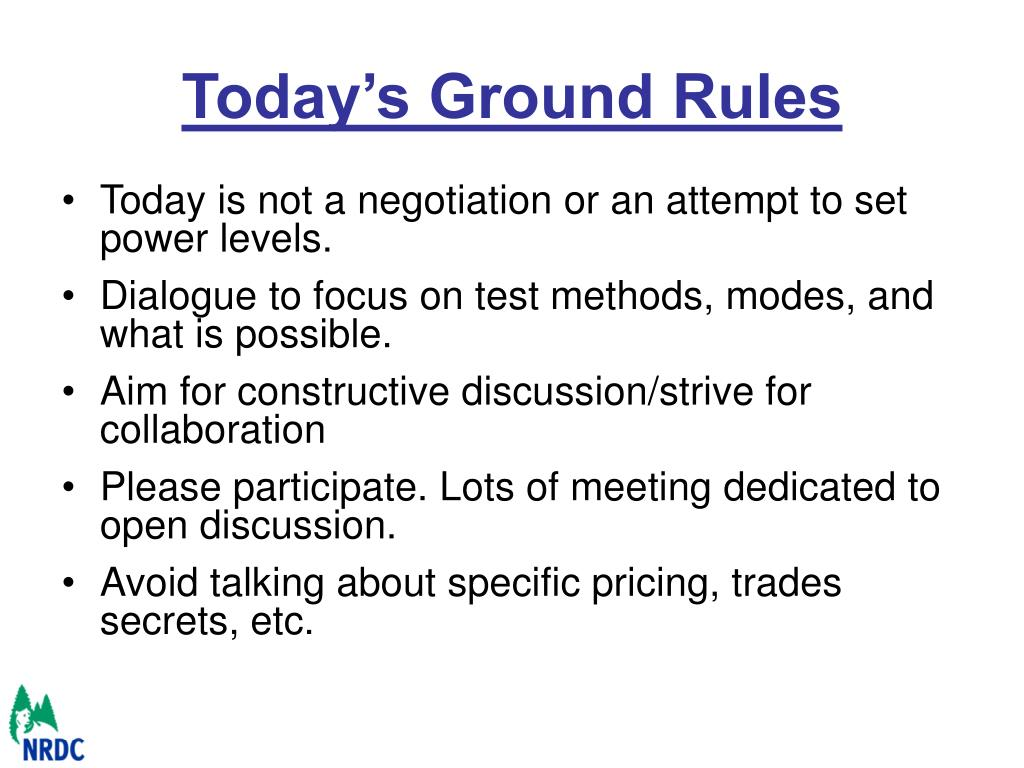 Today's Ground Rules