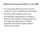 additional responsibilities of the irb