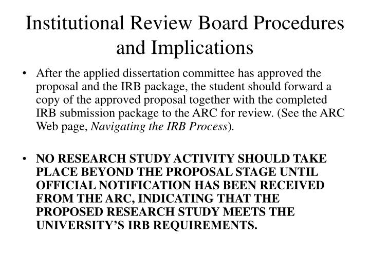 Institutional review board procedures and implications