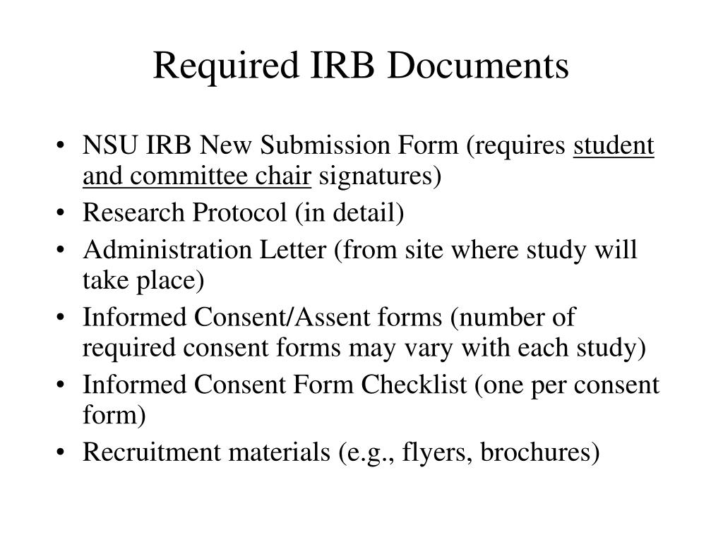 Required IRB Documents