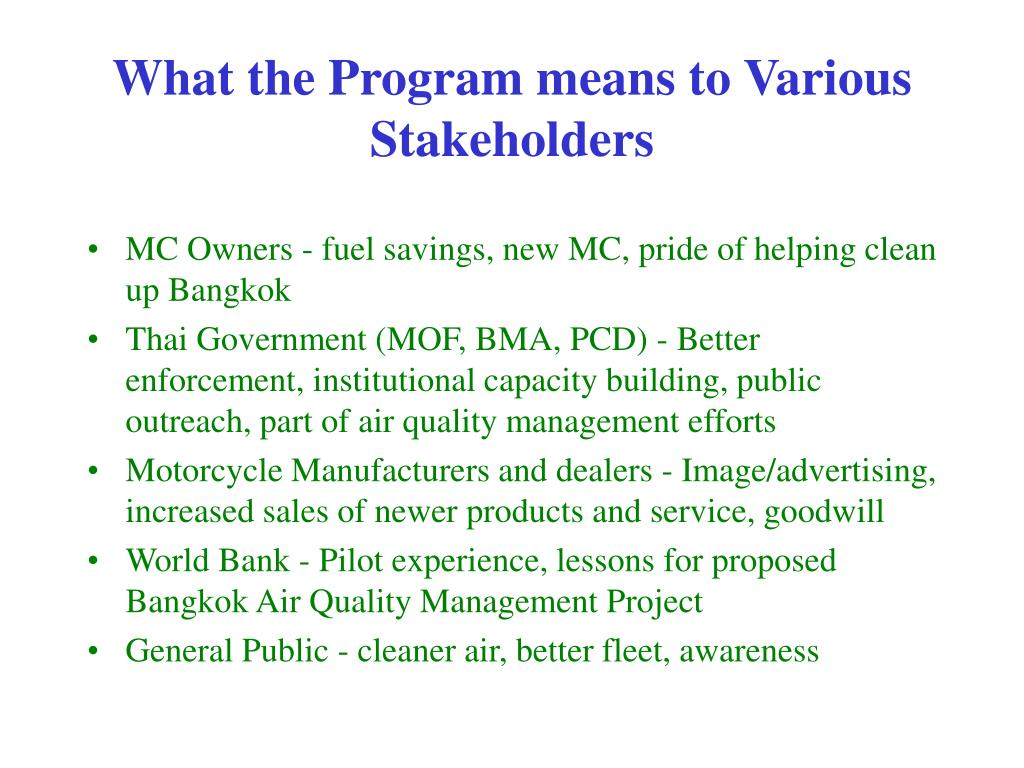 What the Program means to Various Stakeholders