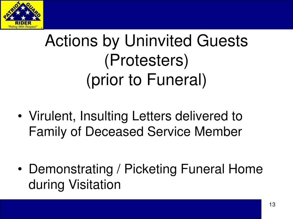 Actions by Uninvited Guests (Protesters)