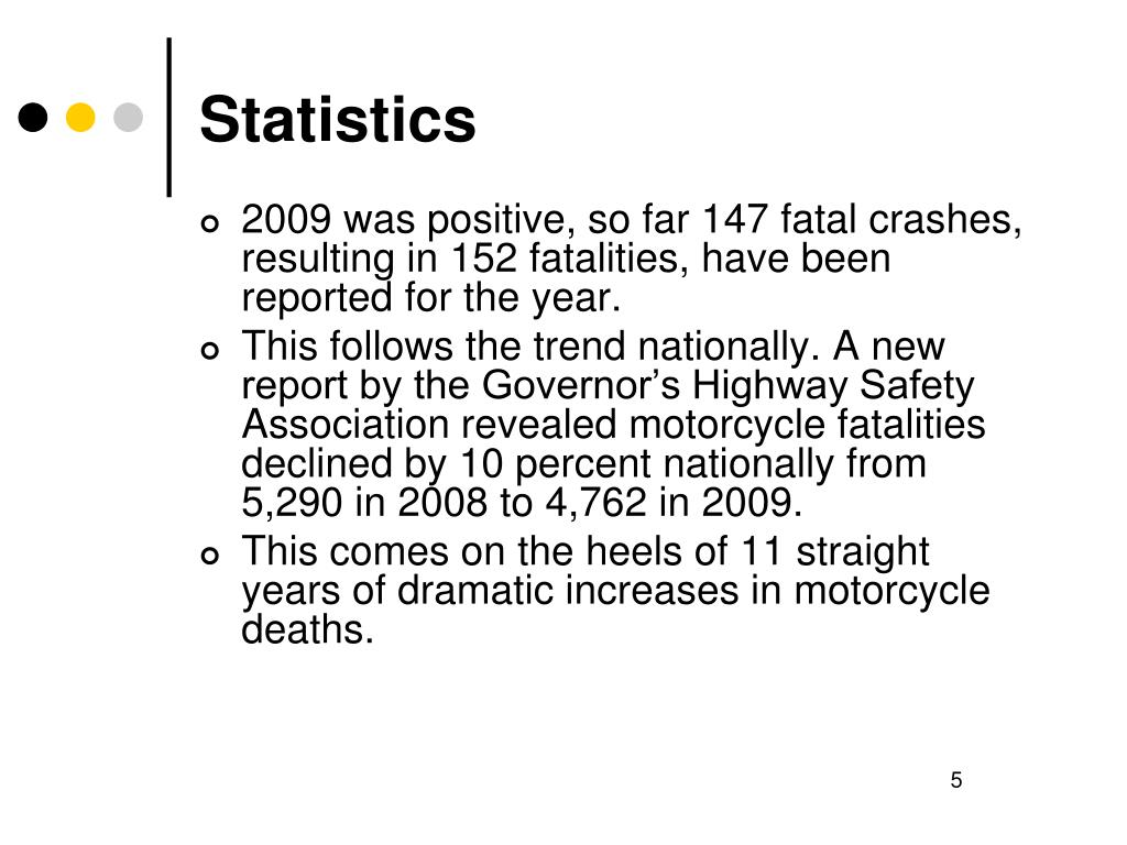 2009 was positive, so far 147 fatal crashes, resulting in 152 fatalities, have been reported for the year.